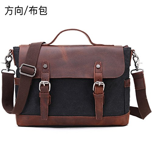 37cm 28cm Canvas Leather Tote Canvas File With Large Retro Bag Shoulder Black maldición 11cm Messenger RqHAgw