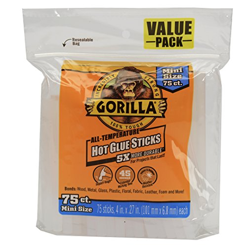 Price comparison product image Gorilla 3027502 Hot Glue Sticks 4 In. Mini Size,  75Count