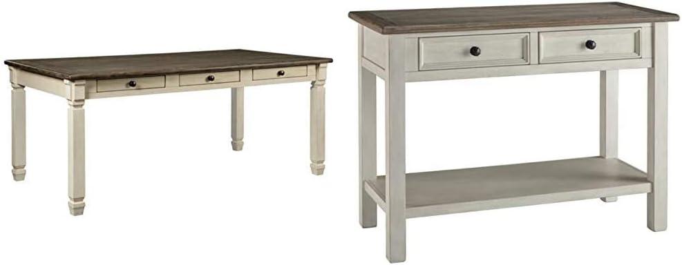 Ashley Furniture Signature Design - Bolanburg Dining Room Table - Antique White & Signature Design by Ashley Bolanburg Sofa Table Two-Tone