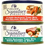 Wellness Natural Grain Free Signature Selects Flaked Wet Cat Food Variety Pack Box - 2 Flavors (Wild Salmon & Shrimp) - 2.8 Ounces Each (12 Total Cans)