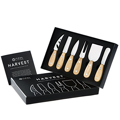 HARVEST Premium 6-Piece Cheese Knife Set - Complete Stainless Steel Cheese Knives Collection with Teak Wood Handles and Full-Length Blades (Stainless Steel Cheese Knife)
