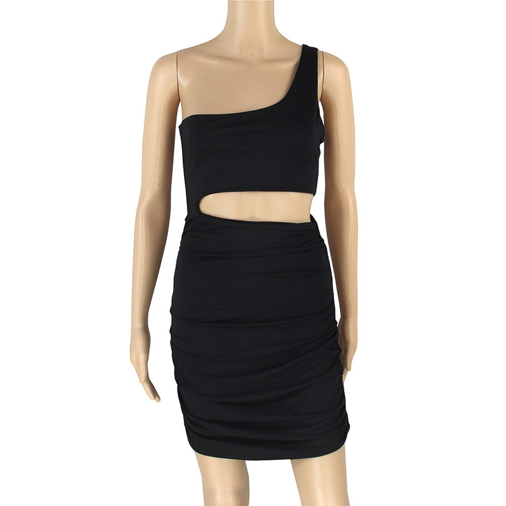 Women One Shoulder Sleeveless Party Bodycon Dress