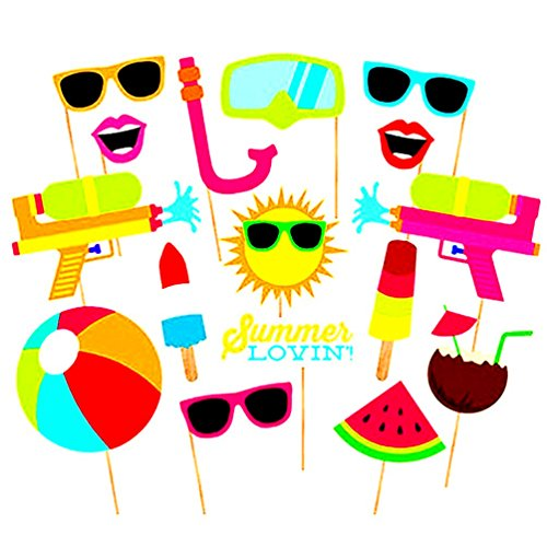 COOLOOdirect 16pcs Hawaii Themed Summer Party Photo Booth Props Kit DIY Luau Party Supplies for Kids birthday Holiday Wedding Beach - Party Photos Holiday