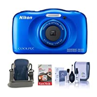Nikon Coolpix W100 Point & Shoot Camera, BLue - Bundle With Camera Case, 16GB SDHC Card, Cleaning Kit by Nikon