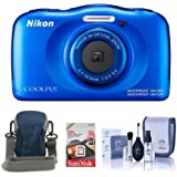 Nikon Coolpix W100 Point & Shoot Camera, BLue - Bundle With Camera Case, 16GB SDHC Card, Cleaning Kit