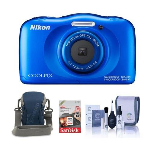 Nikon Coolpix W100 Point & Shoot Camera, BLue – Bundle With Camera Case, 16GB SDHC Card, Cleaning Kit