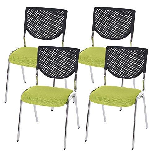 4x Besucherstuhl T401, Konferenzstuhl stapelbar, Textil ~ Sitz grün, Füße chrom