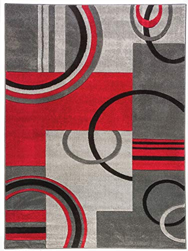 Echo Shapes & Circles Red / Grey Modern Geometric Comfy Casual Hand Carved Area Rug 5x7 ( 5'3