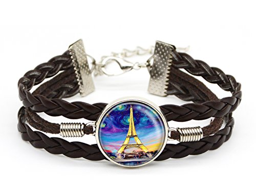 Paris Tower Jewelry Handcrafted Custom Adjustable Brown Leather Bracelet Friendship Christmas Gift