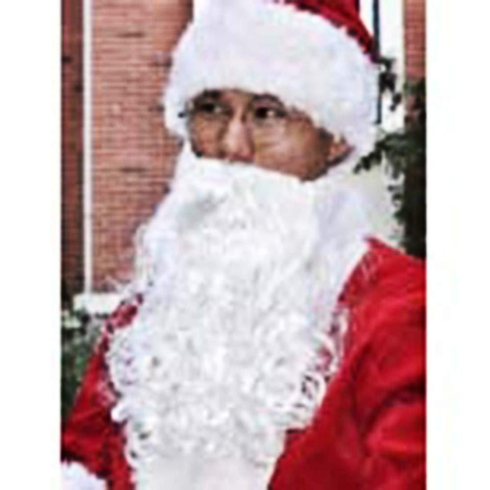 MWhite wig + beard SPFAZJ Santa Suit Costume Santa Costume HighGrade Flocking Santa Costume Set Halloween Christmas Costume Adult Costume