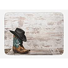 Western Bath Mat by Ambesonne, Traditional Rodeo Cowboy Hat and Cowgirl Boots Retro Grunge Background Art Photo, Plush Bathroom Decor Mat with Non Slip Backing, 29.5 W X 17.5 W Inches, Brown Black