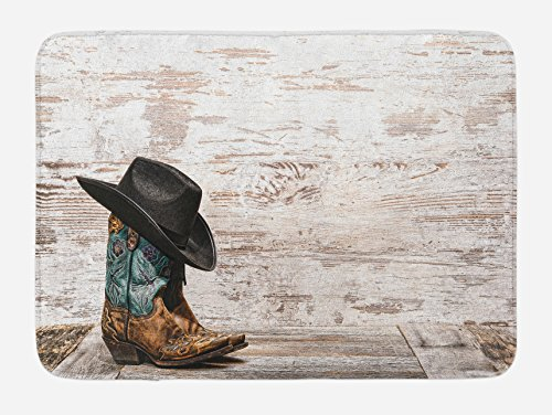 Western Bath Mat by Ambesonne, Traditional Rodeo Cowboy Hat and Cowgirl Boots Retro Grunge Background Art Photo, Plush Bathroom Decor Mat with Non Slip Backing, 29.5 W X 17.5 W Inches, Brown (Western Bath Mat)