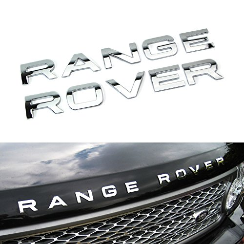 10-Letter/Set Chrome Silver Finish Hood/Tailgate 3D Alloy Metal Letters Stickers For Range Rover, Range Rover Sport, Evoque, etc (Rover Chrome Range Accessories)