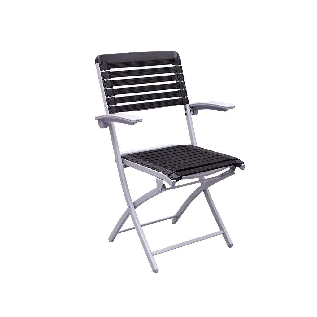 QZ HOME Stühle, Klappstuhl Sonnenliege Schach Stuhl Einfach Büro Student Im Freien (Farbe : SCHWARZ)