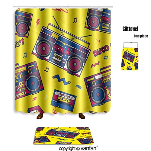vanfan bath sets with Polyester rugs and shower curtain retro pop eighties boombox radio seamless pat shower curtains sets bathroom 72 x 84 inches&31.5 x 19.7 inches(Free 1 towel and 12 hooks)