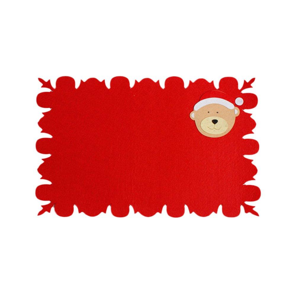 SOMESUN DéCoration CréAtif Accueil FêTe NoëL PèRe Set De Table Fourchette Tissé AntidéRapant Tapis Chemin Porte-Couverts DîNer Lavable Nappes Anti Taches Papier Linge Lavables en Plastique Rouge SOMESUN0526