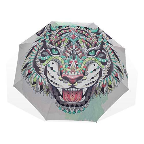 Travel Umbrella Twelve Zodiac Star Characteristic Tiger Anti Uv Compact 3 Fold Art Lightweight Foldable Umbrellas(outside Printing) Windproof Rain Sun Protection Umbrellas For Women Girls Kids