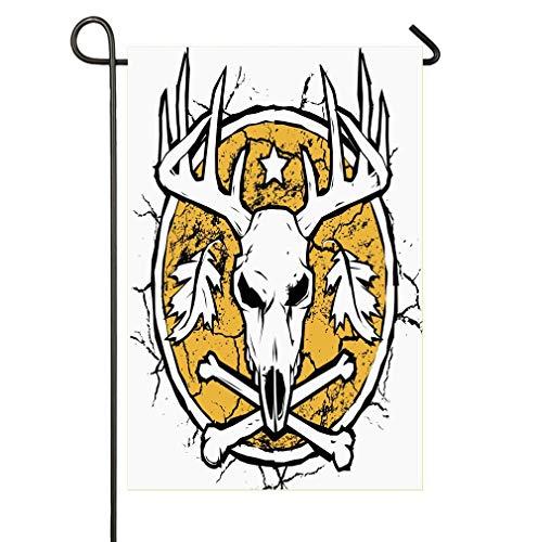 AnleyGardeflagsU Hunters Dry Earth Emblem Scary Deer Skull Fallen Leaves Drought Garden Flag for Garden Decorations Party Supplies