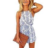 Sunm boutique Floral Romper Strap Backless Romper Jumpsuit Short Beach Rompers Playsuit Print Jumpsuit(M)