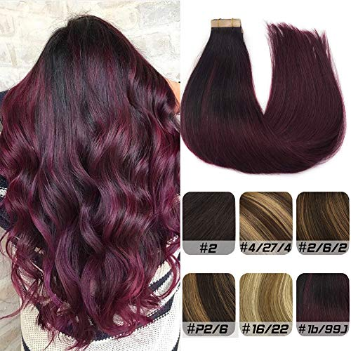 Labhair Human Hair Extensions Tape in Ombre Natural Black to Burgundy Remy Real Hair Extensions Tape in Hair Extensions Silky Straigh 24inch 20pcs 50g