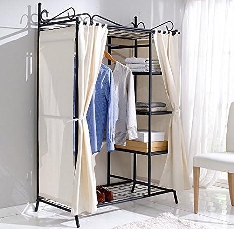 Shabby Chic armario negro y raíl para colgar Vintage ropa armario antiguo francés estilo dormitorio unidad ...