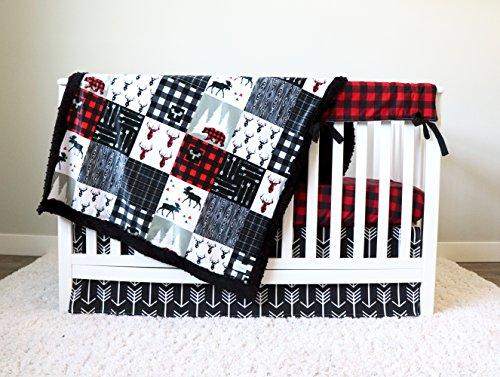 - Plaid and Arrow Woodland 4 Piece Crib Bedding Set