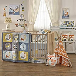 Lolli Living Woods 4-Piece Crib Bedding Set - Woodland Colorful Bedding Coordinates For Baby Nursery, Made From Lightweight, Breathable Premium Cotton, Fits Standard Crib