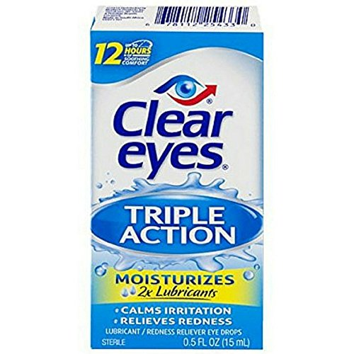 Clear Eyes Triple Action Relief Eye Drops 0.50 oz (Pack of 4) -