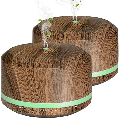 Diffusers for Essential Oil 2 Pack, Mogomiten 450ML Wood Grain Essential Oil Diffuser Ultrasonic Aroma Diffusers Humidifiers for Large Room with 8 Color LED Light 4 Timer Settings