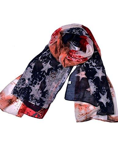 Vintage American Flag Scarf, Fashion Patriotic Scarfs, USA Flag Infinity Shawl Scarves