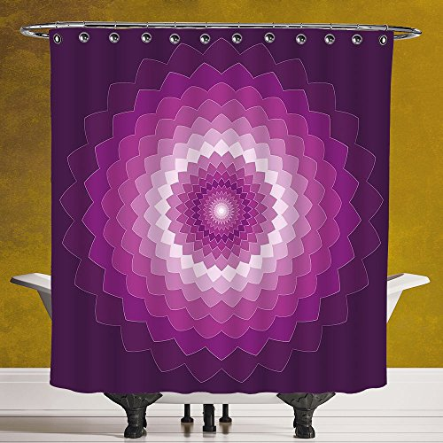 Cool Shower Curtain 3.0 by SCOCICI [ Purple,Graphic Carnation Flower Symbol Optical Illusion Symmetric Vibrant Display,Purple Magenta White ] Polyester Fabric Bathroom Shower - Optical Toronto