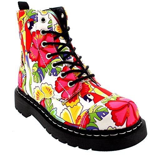 T.U.K. Womens Anarchic 7 Eye Boot Parrot Tropical Biker Ankle High Boot - Multi - 7 (Boots Anarchic)