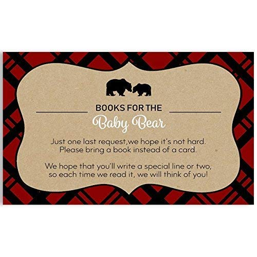 Lumberjack, Baby Shower, Bring A Book Cards, Tan, Red, Black, Baby Shower Invitation Book Inserts, Mama Bear, Books for Baby, Baby's First Book, Rustic, Plaid, 25 Pack Printed Bring A Book Cards