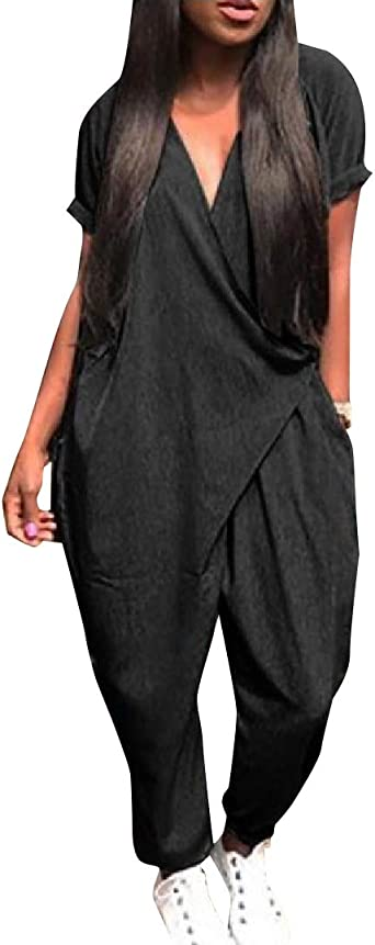 RRINSINS Womens Sleeveless Overalls Backless Wide Leg Romper Jumpsuit