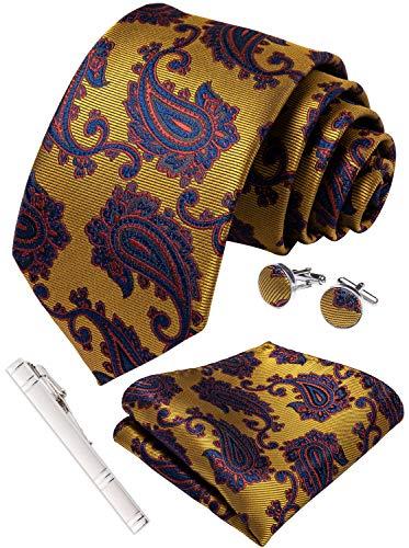 DiBanGu Paisley Necktie Silk Tie Pocket Square Set for Men Formal Handkerchief and Cufflink Wedding Prom (Gold) ()