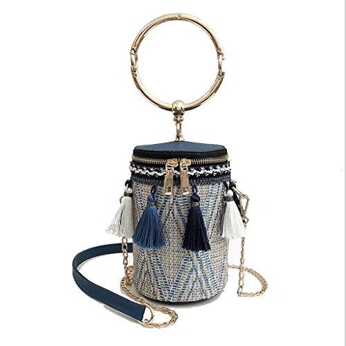 Great St. DGF El Nuevo Mini Bolso, Bolso Coreano del Mensajero de la Moda, Bolso, Bolso de Hombro de la Cadena de la Borla. (Color : Azul) Azul