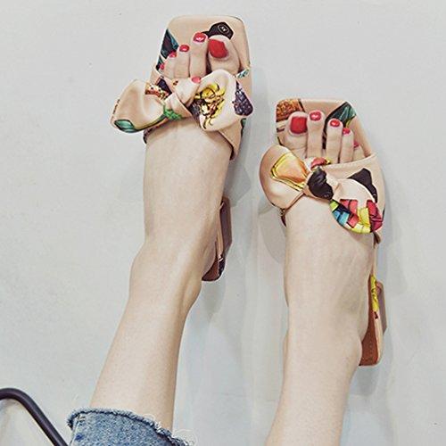 bowknot para Verano Zapatillas Jitong de de sandalias de mujer playa Rosa Zapatillas con Bloque punta de playa abierta elegantes tacón twwqSxCIg