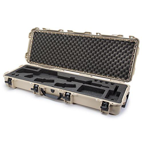 Nanuk 990 Waterproof Professional Rifle/Gun Case, Military Approved with Custom Foam Insert for AR with Wheels - Tan - Made in Canada