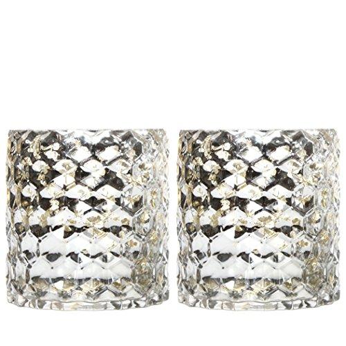 Hosley's Set of 2 Metallic Glass Honeycomb Candle Holders -