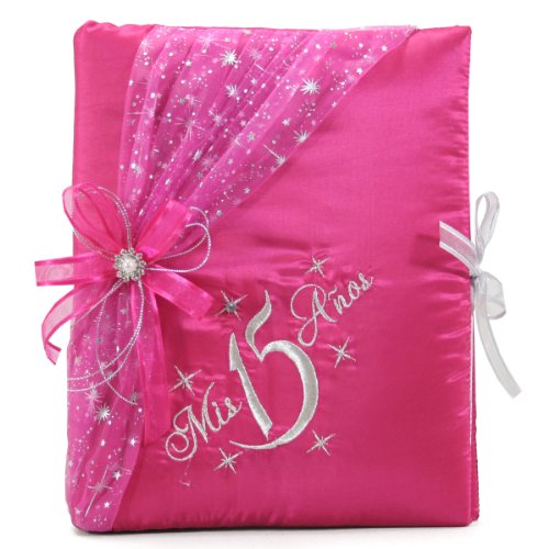 Select Your Choice of Mis Quince Años Guest Book Photo Album Kneeling Tiara Bible Set Q3074 (Guest (Quinceanera Set)