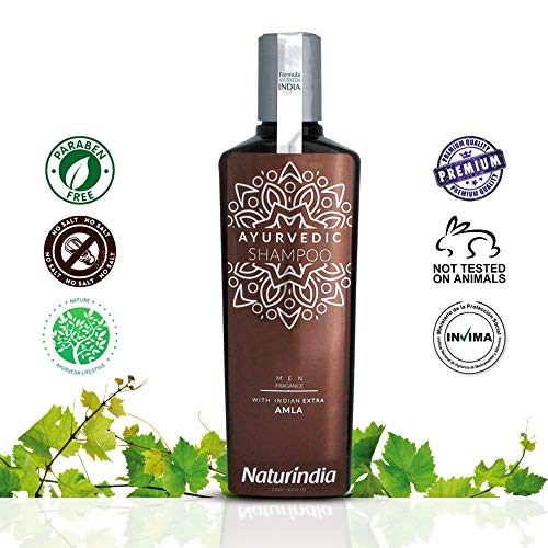 Naturindia Ayurvedic Shampoo for Men Hair Growth Indian Vitalize Formula for Shiny and Strong Hair with Vitamin C and B-Complex AMLA and natural herbs from India 8,4 oz