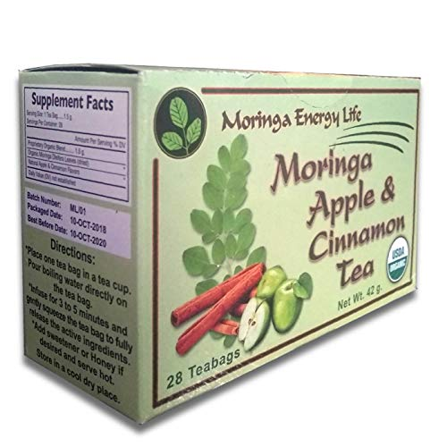 MORINGA APPLE CINNAMON TEA - USDA Organic - Nature´s Most Potent Botanical for Nutrients, Vitamins & Minerals Now in Apple Cinnamon! Boost your Energy and Wellness with this Delicious Moringa Tea