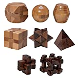 Bits and Pieces - Set of 8 Mini Wooden Brainteaser Puzzles - Brain Game Puzzles for Adults