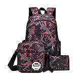BCDshop Waterproof Oxford Fabric Backpack Women Men Rucksack Satchel+Shoulder Crossbody Bag+Tote Handbag Purse (hot pink, Large)