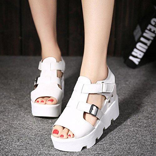 vovotrade Señora de los flips-flopes del pío-dedo del pie de la alta sandalia del zapato de la llegada 2017 del verano, gris /blanco /negro blanco