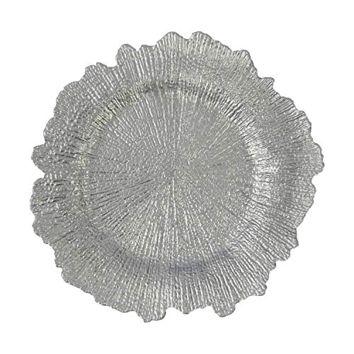 (Silver Plastic Reef Charger Plates - 12 pcs 13 Inch Round Floral Sponge Charger Plates Wedding Party Decoration (Silver,)