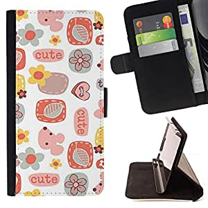 Jordan Colourful Shop - cute pattern art kids white For Apple Iphone 4 / 4S - Leather Case Absorci???¡¯???€????€?????????&