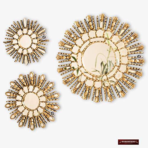 Peruvian Gold Round Mirror Set 3, Collection Sunburst Mirror Wall Decor 17.7