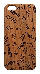 Genuine Wood Trendy Hipster Music Notes iPhone 4 4s Case - Lasercut Art iPhone Cover (Dark Cherry Wood)