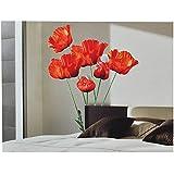 XXL Wandaufkleber / Sticker - Mohnblumen mit Stengel - Mohn Blüten - selbstklebend für Kinderzimmer und Deko Wandsticker Aufkleber Blumen